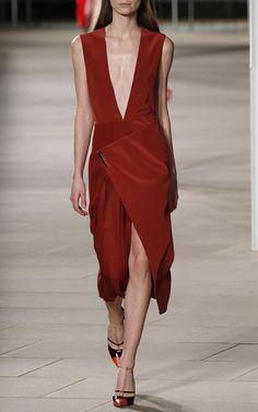V-Neck Dress With Asymmetric Pleated Skirt by Prabal Gurung for Preorder on Moda Operandi
