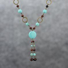 Diseños lazo largo color turquesa collar hecho a por AnniDesignsllc, $19.95