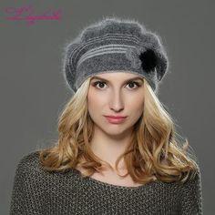 6cf9cb17702  EBay  Liliyabaihe New Style Women Winter Hat Knitted Wool Angora Beret  Classic Patchwork Of