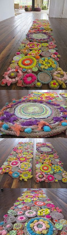 A pom-pom path! This could be just the thing our boring beige upstairs hallway needs :): A pom-pom path! This could be just the thing our boring beige upstairs hallway needs :): Art Projects, Sewing Projects, Diy And Crafts, Arts And Crafts, Pom Pom Rug, Deco Nature, Pom Pom Crafts, Weaving, Crafty