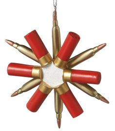 Snowflake Shotgun Shell Bullets Ammunition Hunter Christmas Ornament made of resin material from Midwest-CBK. Dimensions: 4 X 1 X 4 UPC 738449461891 Shell Ornaments, Diy Christmas Ornaments, Christmas Crafts, Christmas Ideas, Elegant Christmas, Christmas Stuff, Snowman Crafts, Christmas Carol, Beautiful Christmas