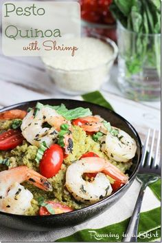 Pesto Quinoa with Shrimp recipe.  Healthy quinoa recipe topped with clean eating shrimp.  A hearty, easy and simple meal./ Running in a Skirt