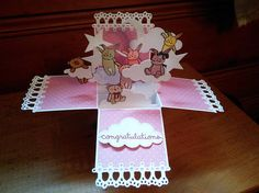 New Baby Girl Pop-Up Box Card Baby Girl Shower Card