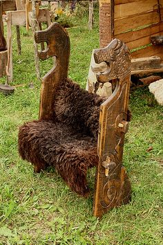 Wooden bench of viking. Festival of experimental archaelogy. Kernave. Lithuania | Flickr - Photo Sharing!