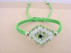 Green Handmade Evil Eye Macrame Bracelet Greek Mati by ForThatSpecialDay on Etsy