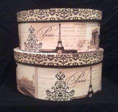 Paris themed hat boxes by Tri-Coastal Designs. Decoupage Box, Decoupage Vintage, Paris Decor, Paris Theme, Vintage Hat Boxes, Pretty Box, Altered Boxes, Vintage Paris, Little Boxes