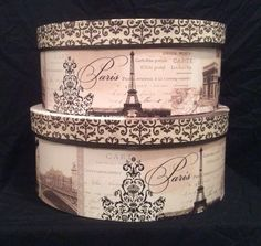 Paris themed hat boxes by Tri-Coastal Designs.
