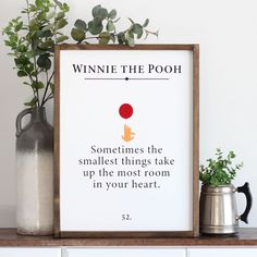 "@handmademercantileco posted to Instagram: ""Sometime the smallest things take up the most room in your heart."" 🎈#woodsigns #handmade #etsyshop #etsy #homedecor #farmhousedecor #farmhousewoodsigns #farmhousenursery #handmademercantileco #farmhousestyle #winniedapooh #winniethepooh #sometimesthesmallesthingstakeupthemostroominyourheart"