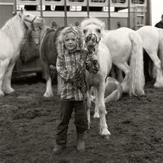 Joseph-Philippe Bevillard. Traveller (Irish gypsy) girl and her ponies. Ballinasloe, Galway, Ireland 2011