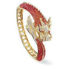 Goldplated and Crystal Dragon Hinged Bracelet
