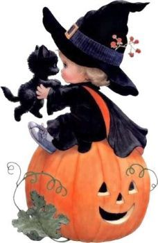 quenalbertini: Little Halloween Witch by Ruth Morehead Halloween Mono, Halloween Imagem, Chat Halloween, Image Halloween, Vintage Halloween Cards, Halloween Clipart, Holidays Halloween, Halloween Themes, Halloween Crafts