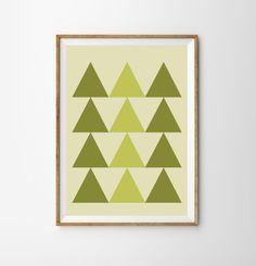 Tribal Triangles print  pastels  green  wall art  by MILKANDPAPER, $14.00