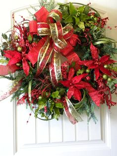 Christmas Wreath Green Red Poinsettia by tlgsilkfloral on Etsy, $124.95