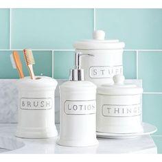 Pottery Barn Ceramic Text Bath Accessories ($15) ❤ liked on Polyvore featuring home, bed & bath, bath, bath accessories, pottery barn, ceramic bathroom accessories, ceramic tumbler, ceramic toothbrush holder and ceramic soap dispenser