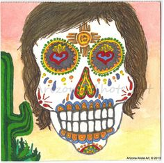Day of the Dead Zia Original Watercolor by ArizonaAhoteArt on Etsy, $35.00