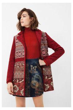 Manteau rouge doux ethnique - Natalia | Desigual.com H