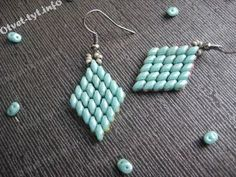 Superduos - diamong earrings.  Step by step but Translate. ~ Seed Bead Tutorials