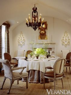 The wonderful designer Dan Carithers | Burlap and leather, damask and gingham, sisal and pompon fringe—texture plays an enormous role in an intimate dining room ...