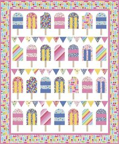 Popsicle Parade Boxed Quilt Kit coming in June Quilt Block Patterns, Pattern Blocks, Quilt Blocks, Popsicles, Riley Blake, Quilt Top, Keepsake Boxes, Baby Quilts, Damask