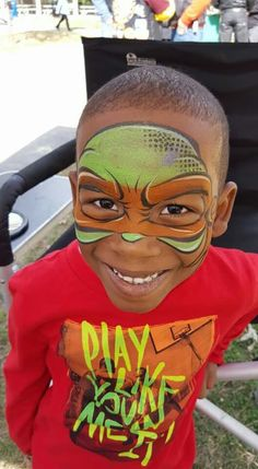 Like how he does his mask and use of stencil Turtle Painting, Body Painting, Superhero Ideas, Painting For Kids, Face Art, Face And Body, Turtles, Stencils, Cartoons