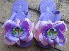 Doc McStuffins Toddler & Girls Ribbon Bow Boutique Flip Flops via Etsy