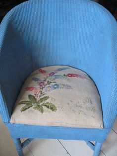 VINTAGE WICKER CHAIR WITH EMBROIDERED PADDED SEAT BLUE COUNTRY COTTAGE