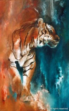 O paintings ~ Animal Paintings : Tiger painting Art Watercolor, Watercolor Animals, Big Cats Art, Cat Art, Tiger Painting, Painting & Drawing, Tiger Artwork, Underwater Painting, Pintura Graffiti