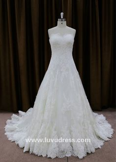 2016 New Sweetheart A Line Franch Lace Wedding Dress For Fat Woman
