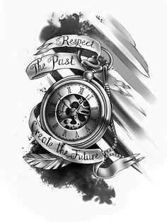 Resultado de imagem para clock tattoo designs #TattooIdeasForMen
