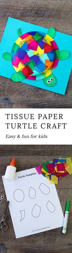 This easy and fun Tissue Paper and Paper Plate Turtle craft includes a free printable template, making it perfect for home, school, daycare, or camp. via HTTP://www.pinterest.com/fireflymudpie/
