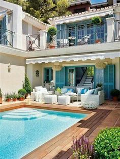 What a dream home architecture balcony Spanish style house pool patio Outdoor Rooms, Outdoor Living, Outdoor Areas, Outdoor Retreat, Outdoor Seating, Outdoor Furniture, Dream Pools, Style At Home, Cool Pools