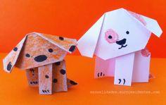 Cute paper dog. Perrito de papel http://manualidades.euroresidentes.com/2014/05/como-hacer-un-perro-de-papel-origami.html