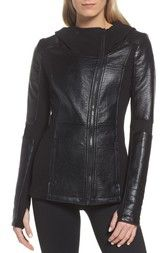 Blanc Noir Faux Leather Hooded Moto Jacket available at #Nordstrom