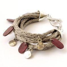 So cool!  Linen Bracelet - Sandy Dunes - Exotic Wood Jewelry. $45.00, via Etsy.