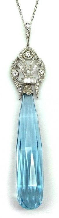 Early Art Deco briolette cut aquamarine and diamond pendant, French c.1920. S.J. Phillips Ltd. (via ♥ JEWELS ♥)