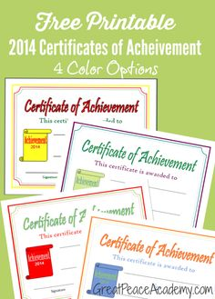 Free Printable 2014 Certificates of Achievement