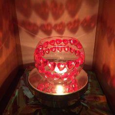Medium Bubble Bowl adorned with a swirl of small plastic red heart beads. Comes with 1 LED Light to be placed in center to create stunning shadow. Tea Lights, Birthday Candles, Snow Globes, My Heart, The Selection, Centerpieces, Bubbles, Beads, Create