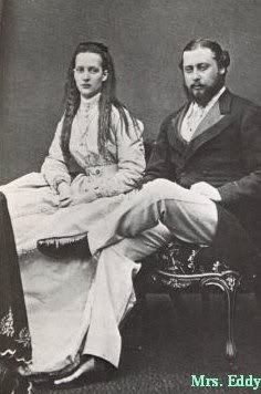"King Edward VII ""Bertie"" (Albert Edward) (1841-1910) Prince of Wales, UK & wife Princess Alexandra ""Alix"" (Alexandra Caroline Marie Charlotte Louise Julia) (1844–1925) Denmark. Edward VII (Albert Edward) is the 2nd child of Queen Victoria (1819-1901) UK & Prince Albert (1819-1861) Saxe-Coburg & Gotha, Germany. Alix is 2nd child of King Christian IX (1818-1906) Denmark & Louise (Louise Wilhelmine Frederikke Caroline Auguste Julie) (1817–1898) Hesse-Kassel, Germany."