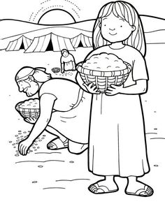 manna and quail, Bible coloring page - Bible Story Crafts, Bible School Crafts, Bible Crafts For Kids, Preschool Bible, Bible Activities, Bible Stories, Children Activities, Sunday School Kids, Sunday School Lessons