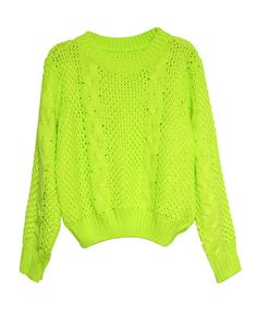 Neon Chunky Knit Sweater with Crew Neckline