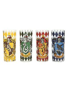 The only glasses worthy of butterbeer! // Harry Potter House Crests Pint Glass Set