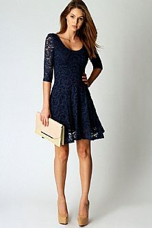 Half Sleeve Lace Scoop A Line Navy Cocktail Dresses 2013