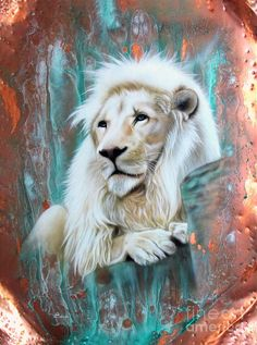 White Lion painting in teal and copper. Mighty King of Kings. Please also visit www.JustForYouPropheticArt.com for more #propheticart