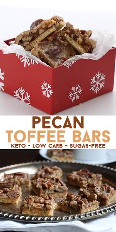 These keto pecan bars feature a tender almond flour crust topped by toasted pecans and a crunchy delicious sugar-free toffee. So tasty and perfect for the holidays or any time of year. I like to give them to friends as a gift! Pecan Bars, Toffee Bars, Low Carb Sweets, Low Carb Desserts, Low Carb Recipes, Easy Recipes, Ketogenic Desserts, Keto Snacks, Ketogenic Diet