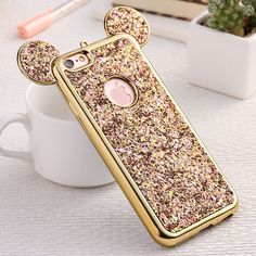 KISSCASE Bling Paillette Case For Apple iPhone 6 6S Lovely Mickey Ear Pattern Plating Frame Soft TPU With Logo Hole Back Cover #iphone6spluscase,