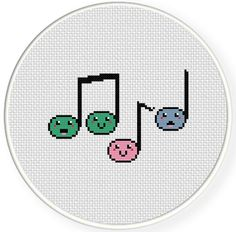 FREE for Aug 19th 2014 Only - Happy Musical Notes Cross Stitch Pattern Cross Stitch Music, Cross Stitch Owl, Simple Cross Stitch, Cross Stitch Designs, Cross Stitching, Cross Stitch Patterns, Crochet Patterns Amigurumi, Music Crafts, Ideas