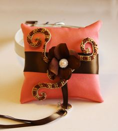 Blush and Brown Ring Pillow attach to the by LADogStore, $68.50 #Wedding #RingPillow #RingDog #LADogStore #LA #Dog #Store #Unique #UniqueWedding #FlowerWedding #Flower #Amazing #2013 #2014 #BlushWedding #BlushColors #BlushBrown #Blush #BrownBlush #BrownWedding #BrownColor #BrownFlower #Pearl #Rhinestone #Collar #DogCollar