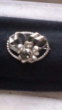 Vintage Hand Crafted Floral Sterling Silver Brooch