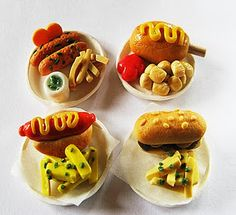 Tiny polymer clay fast food.