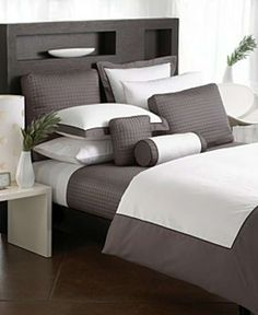 I want this bedding! Hotel Collection Borderline.